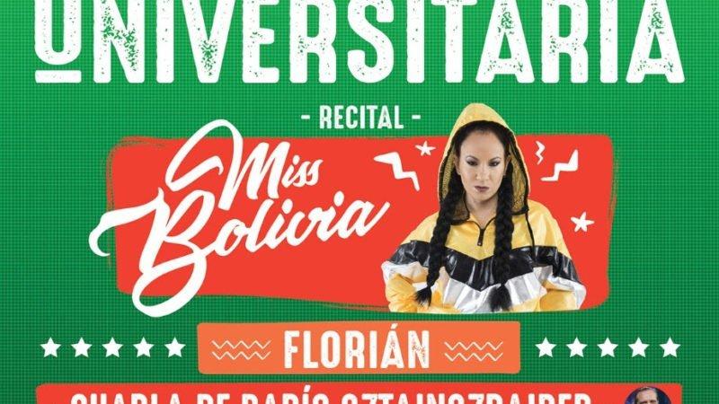 Festival por la Gratuidad Universitaria con Miss Bolivia, Florian y más, este Sábado 19 de octubre
